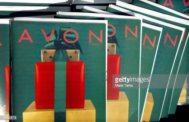 Avon catalogs are on display outside an Avon store February 3 2003 in New York City Avon Products Inc posted a 5 percent increase in sales February 4...