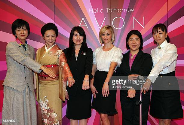 Avon Global Ambassador Reese Witherspoon at a press conference to spotlight Avon's firstever global fundraising product the Women's Empowerment...