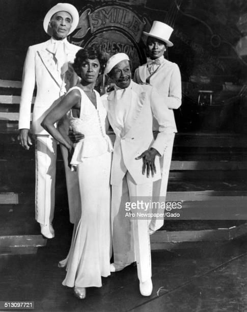 Avon Long Josephine Prefict and Vivian Reed wearing hat during a performance of the Bubbling Brown Sugar Musical Revue 1977