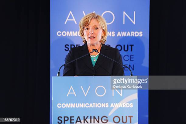 Avon Products Inc CEO Sheri McCoy addressed global women's rights leaders at the 2nd Avon Communications Awards Speaking Out About Violence Against...