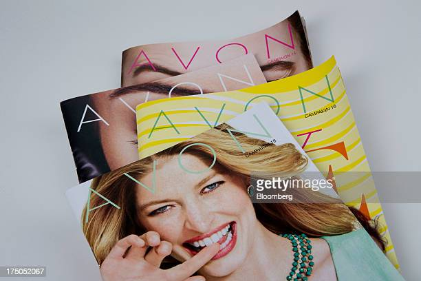 Avon Products Inc product catalogues are arranged for a photograph in New York US on Tuesday July 30 2013 Avon Products Inc the doortodoor cosmetics...