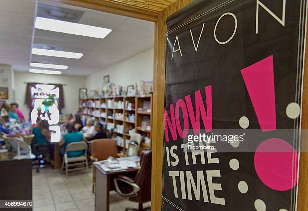 Avon Products Inc signage is displayed on a door during a weekly sales meeting in McAllen Texas US on Thursday Aug 28 2014 The top 10 US Avon...