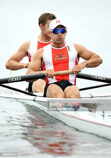 Avon Rowing Club's James O'Connor front and Ben Bowles at the start in the Premier Mens coxless pairs during the Bankstream New Zealand Rowing...