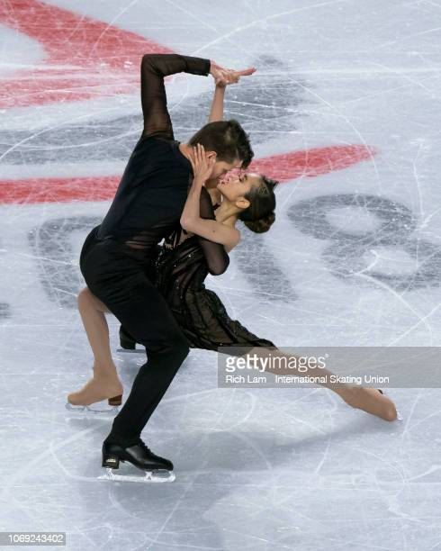Avonley Nguyen and Vadym Kolensnik of the United States compete in the Rhythm Dance portion of the Junior Ice Dance competition at the ISU Junior and...