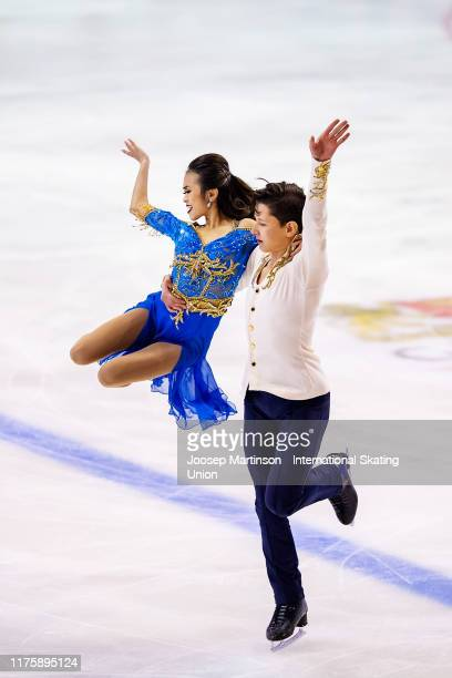 Avonley Nguyen and Vadym Kolesnik of the United States compete in the Junior Ice Dance Rhythm Dance during the ISU Junior Grand Prix of Figure...