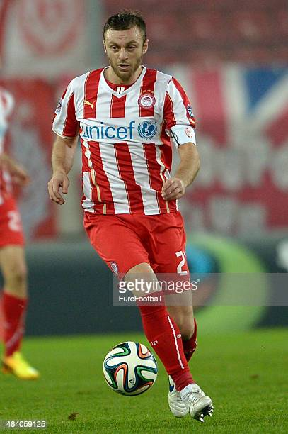 Avraam Papadopoulos of Olympiacos dribbles with the ball during the Greek Superleague match between Olympiacos and Levadiakos at the Georgios...