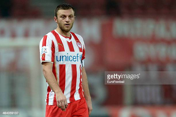 Avraam Papadopoulos of Olympiacos in action during the Greek Superleague match between Olympiacos and Levadiakos at the Georgios Karaiskakis Stadium...