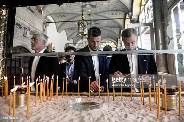 Avraam Papadopulos and Andreas Samaris of Olympiacos FC visit Patriarch Bartholomew at Ecumenical Patriarchate ahead of a friendly match with...