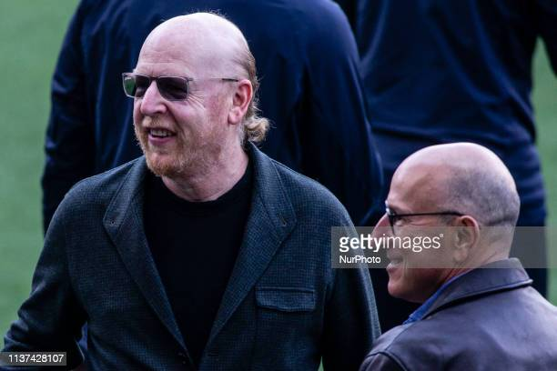 Avram Glazer , owner of Manchester United during the training session before the second leg Champions League match of Quarter final between FC...