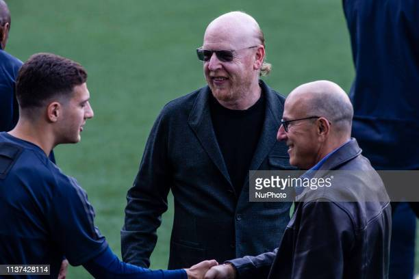 Avram Glazer owner of Manchester United during the training session before the second leg Champions League match of Quarter final between FC...