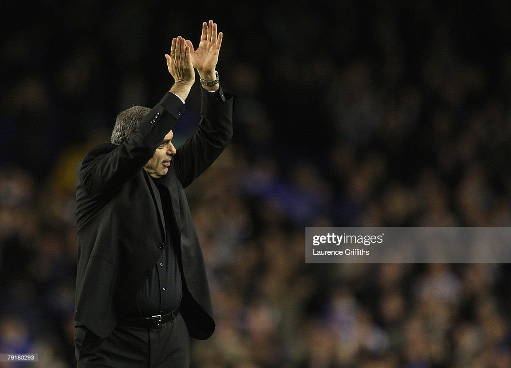 Avram Grant of Chelsea celebrates with the fans during the Carling Cup Semi Final Second Leg match between Everton and Chelsea at Goodison Park on January 23, 2008 in Liverpool, England.