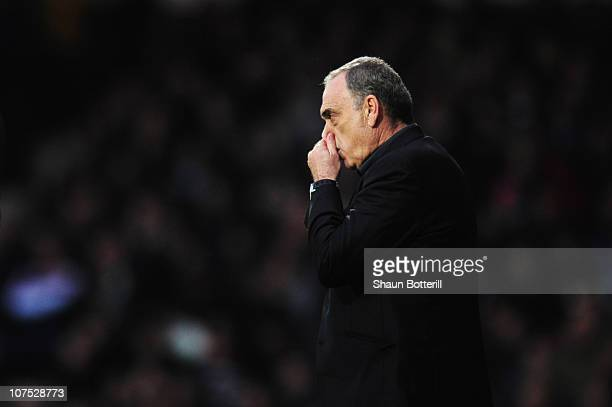 Avram Grant the West Ham United manager watches from the touchline during the Barclays Premier League match between West Ham United and Manchester...