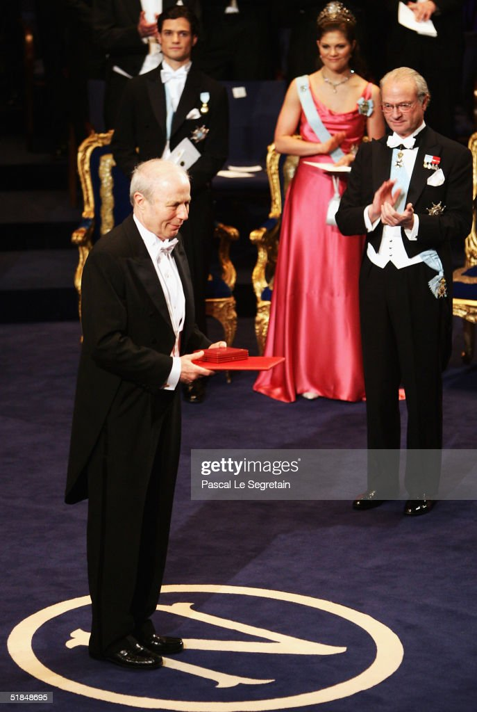 Avram Hershko of Israel, left, receives the Nobel prize in medicine during the Nobel Prize Award Ceremony at the Concert Hall on December 10, 2004 in Stockholm, Sweden. The prizes were being awarded at simultaneous ceremonies in Stockholm and Oslo, Norway.