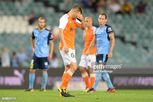 Avram Papadopoulos of Brisbane leaves the field after receiving a red card during the round eight ALeague match between Sydney FC and the Brisbane...