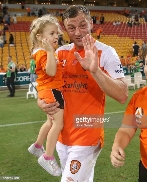 Avram Papadopoulos of the Brisbane Roar celebrates the win with his family during the round seven ALeague match between Brisbane Roar and Melbourne...