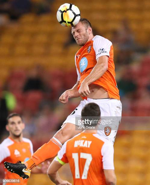 Avram Papadopoulos of the Brisbane Roar heads the ball during the round 22 ALeague match between the Brisbane Roar and Adelaide United at Suncorp...
