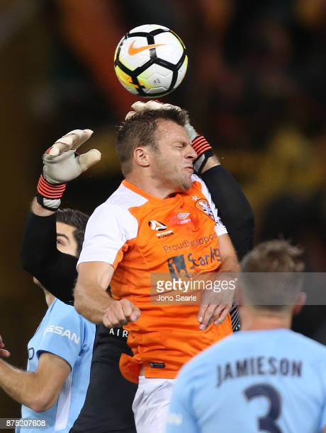 Avram Papadopoulos of the Brisbane Roar heads the ball to score during the round seven ALeague match between Brisbane Roar and Melbourne City at...