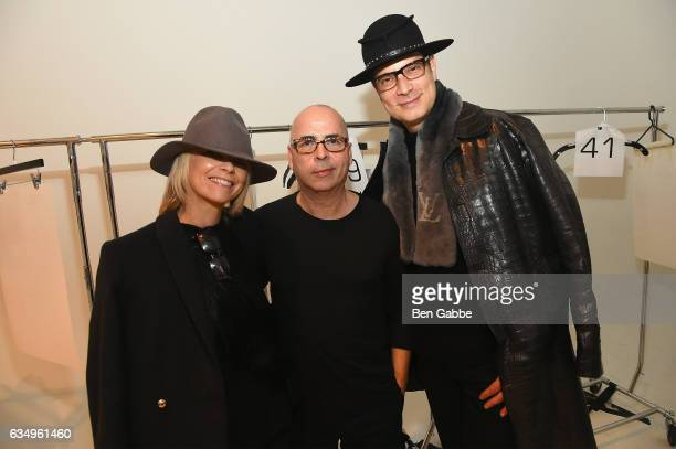 Avril Graham Louis Verdad and Cameron Silver pose backstage at the Verdad fashion show during New York Fashion Week at Pier 59 on February 12 2017 in...