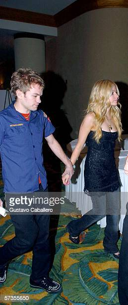 Avril Lavigne and fiance Derick Whibley attend the 2006 Florida Chapter Recording Academy Honors at the Loews Hotel on April 17 2006 in Miami Beach...