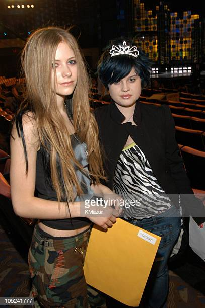 Avril Lavigne and Kelly Osbourne during 2003 MTV Video Music Awards Rehearsals Day Two at Radio City Music Hall in New York City New York United...