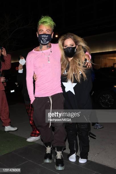 Avril Lavigne and ModSun head to Boa on February 27, 2021 in Los Angeles, California.