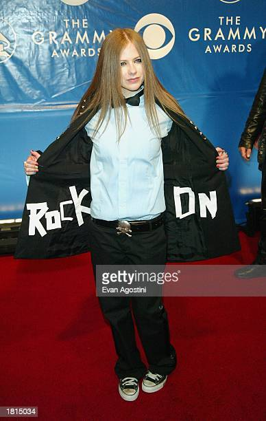 Avril Lavigne attend the 45th Annual Grammy Awards at Madison Square Garden on February 23 2003 in New York City