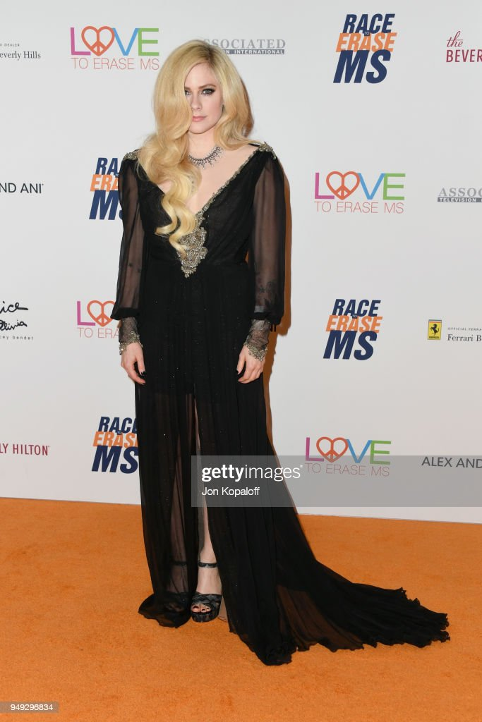 Avril Lavigne attends the 25th Annual Race To Erase MS Gala at The Beverly Hilton Hotel on April 20, 2018 in Beverly Hills, California.