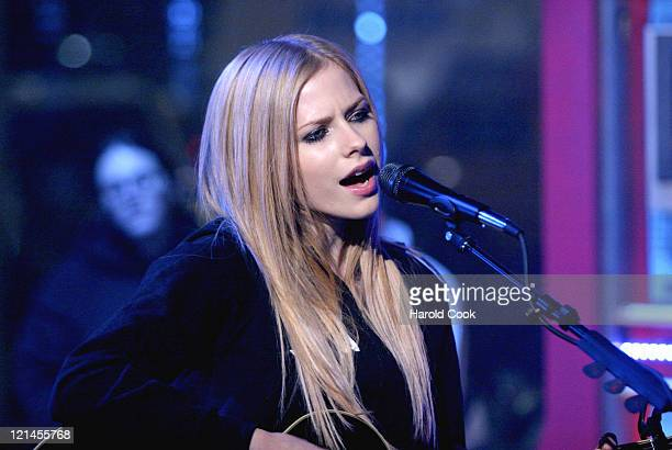 Avril Lavigne during Avril Lavigne Visits FUSE Network's 'Daily Download' December 16 2004 at FUSE Studios in New York City New York United States
