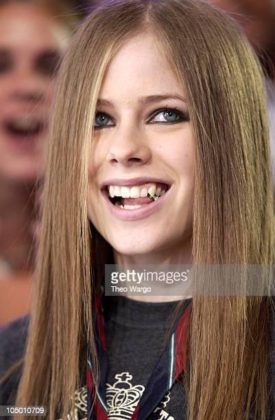 Avril Lavigne during Avril Lavigne Visits MTV's 'TRL' August 22 2002 at MTV Studios Times Square in New York City New York United States