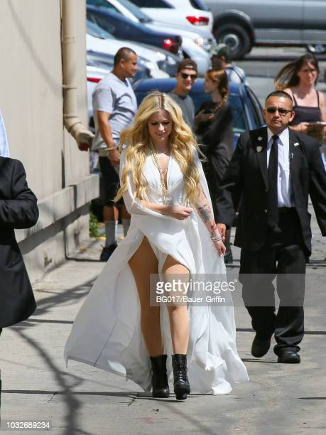 Avril Lavigne is seen arriving at 'Jimmy Kimmel Live' on September 12 2018 in Los Angeles California