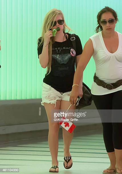 Avril Lavigne is seen at Los Angeles International Airport on July 22 2012 in Los Angeles California