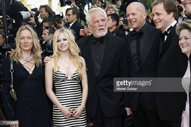 Avril Lavigne Nick Nolte and Bruce Willis attend the 'Over The Hedge' premiere at the Palais Des Festivals during the 59th International Cannes Film...