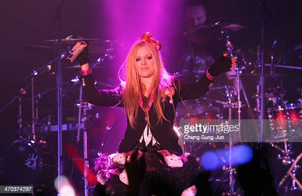 Avril Lavigne performs live at Olympic Hall on February 19, 2014 in Seoul, South Korea.