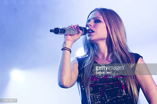 Avril Lavigne performs live on day 1 of La Fete de l'Humanite on September 16, 2011 in La Courneuve, France.