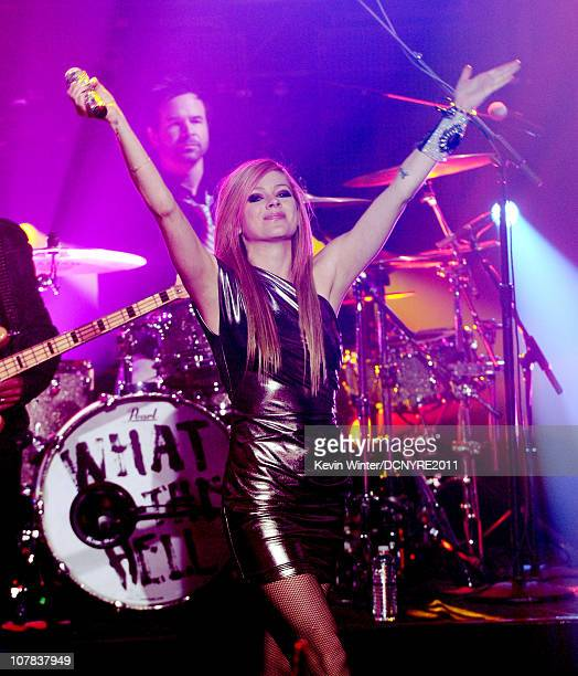 Avril Lavigne performs onstage during Dick Clark's New Year's Rockin' Eve With Ryan Seacrest 2011 at Center Staging on December 31 2010 in Burbank...