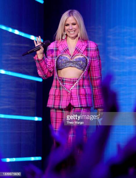 Avril Lavigne speaks onstage during the 2021 MTV Video Music Awards at Barclays Center on September 12, 2021 in the Brooklyn borough of New York City.