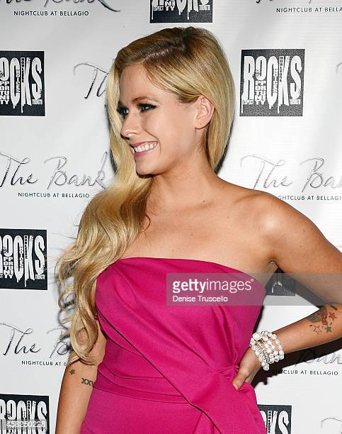 Avril Levigne arrives at her 30th birthday celebration at the Bank nightclub in the Bellagio Hotel and Casino on September 28 2014 in Las Vegas Nevada
