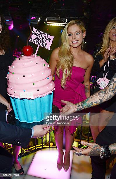Avril Levigne celebrates her 30th birthday at the Bank Nightclub in the Bellagio Hotel and Casino on September 28 2014 in Las Vegas Nevada