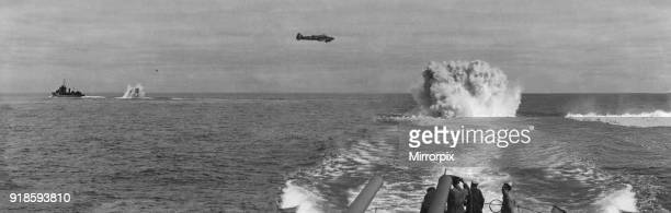 Avro Anson of Coastal Command working in cooperation with two convoy escorts hunt down a German U-Boat in the Western Approaches in the spring of...