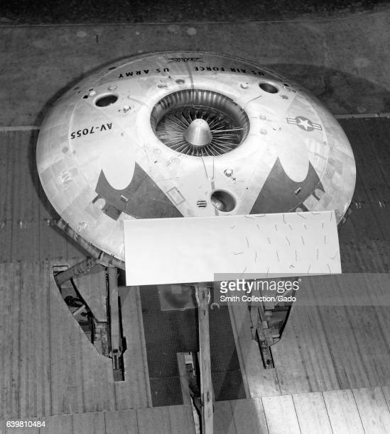 Avro Canada VZ9 Avrocar Vertical Takeoff and Landing aircraft known informally as as flying saucer undergoing testing at the NASA Ames Research...