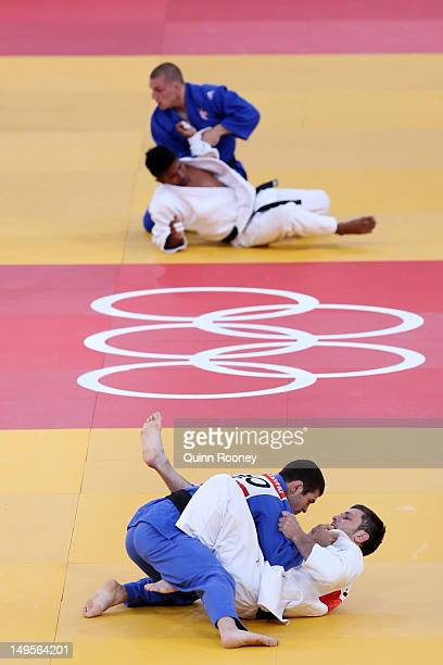 Avtandil Tchrikishvili of Georgia competes with Marijana Miskovic of Croatia in the Men's 81 kg Judo on Day 4 of the London 2012 Olympic Games at...
