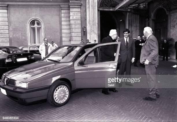Avv Gianni Agnelli present a new Fiat product Alfa Romeo to President Cossiga
