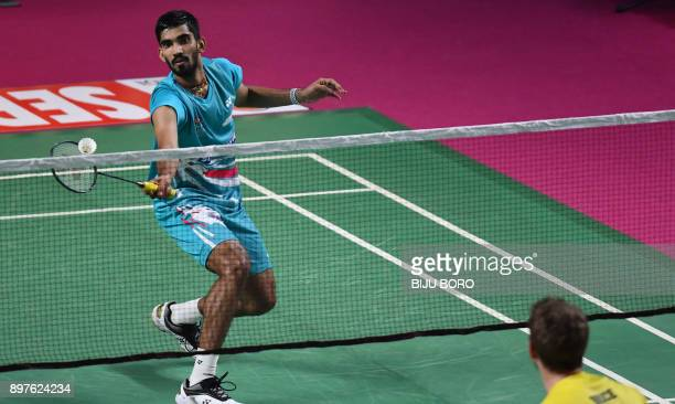 Awadhe Warriors player Srikanth Kidambi returns to Chennai Smashers player Brice Leverdez during their Mens single match of the Vodafone Premier...