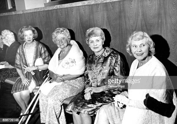 Awaiting curtain time for the opening of second play of season are from left Mrs William McGlone Mrs Charles Gates Mrs Milton Stenseth Mrs Thomas...