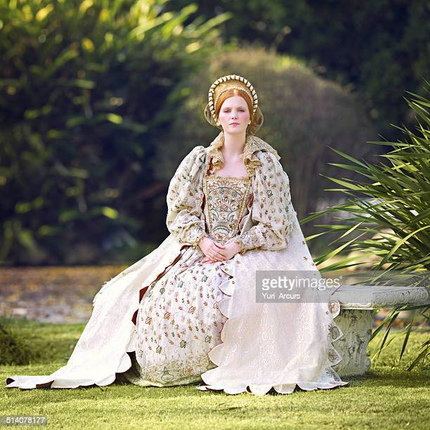 awaiting her king - elizabethan style stock photos and pictures