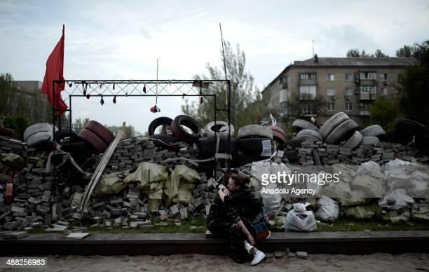 Awaiting of pro-Russian separatists is ongoing at the government building seized by Russian supporters in Donetsk, Ukraine on May 5, 2014.