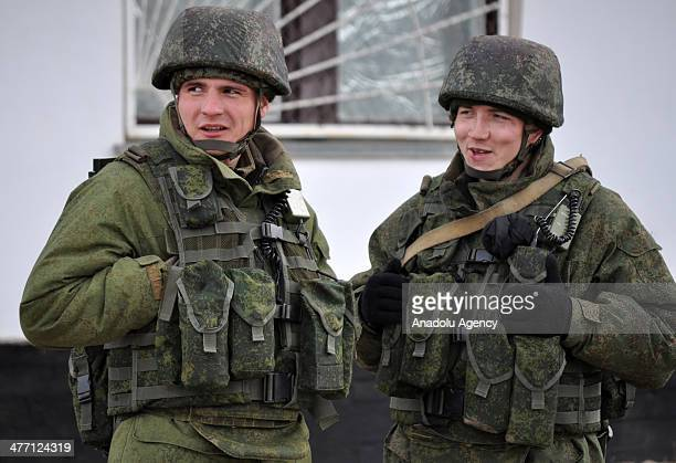 Awaiting of Russian soldiers keeps going in Ukraine military base Prevalence region of Simferopol Ukraine on March 5 2014