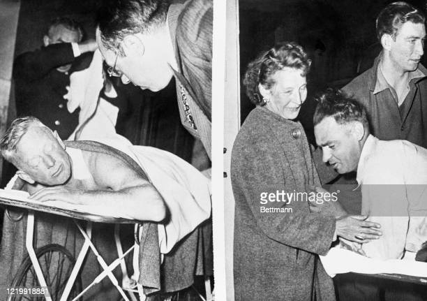 Awaiting treatment at Marine hospital for relatively slight wounds suffered in the Alcatraz battle officer Fred Roberts talks with unidentified man...
