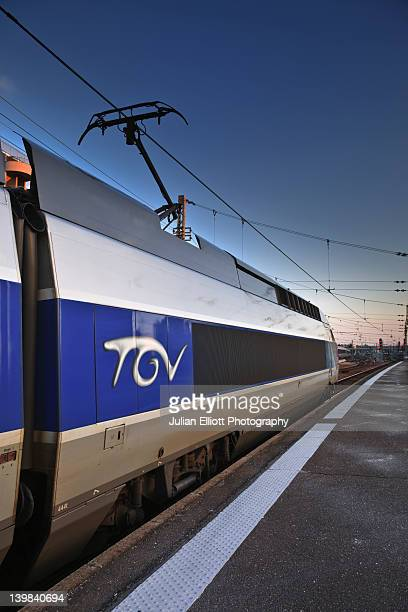 A TGV (train à grand vitesse) awaits departure at Tours train station, France.