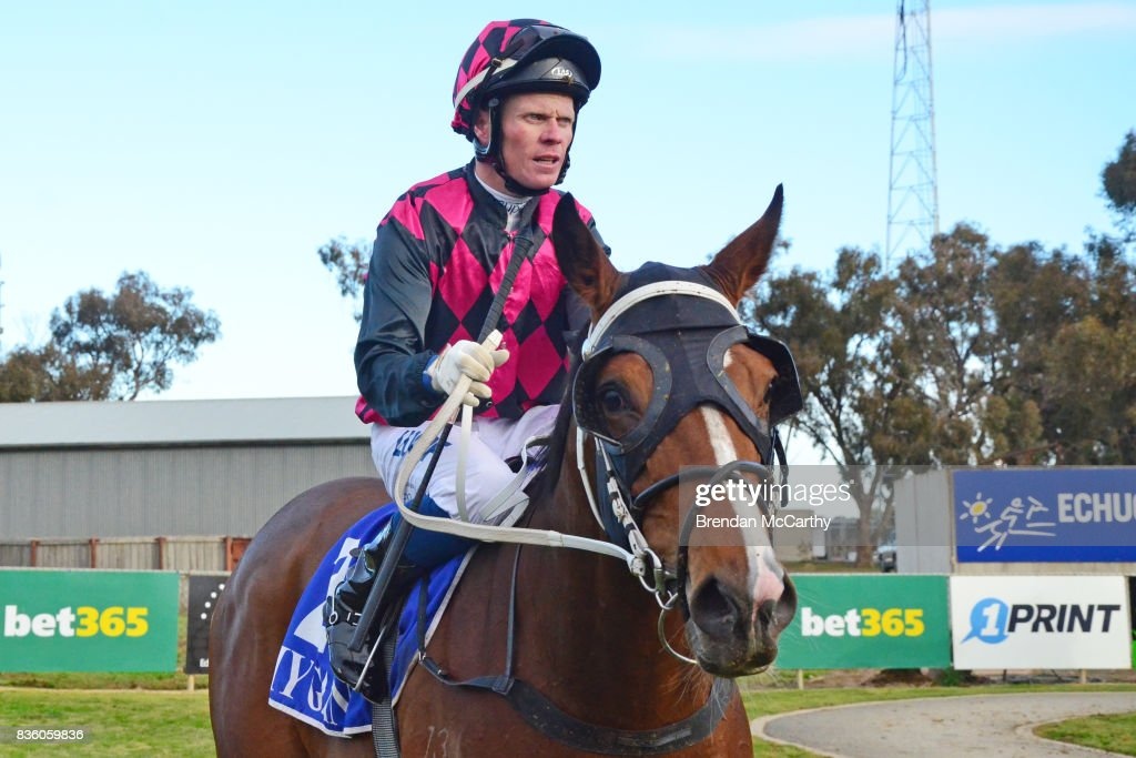 Awake in Grinzing (NZ) ridden by Anthony Boyd returns to the mounting yard after winning the Barmah Hotel BM58 Handicap at Echuca Racecourse on August 21, 2017 in Echuca, Australia.